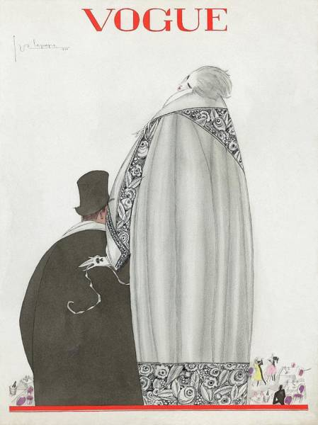 Headgear Digital Art - Vogue Cover Illustration Of A Couple Entering by Georges Lepape