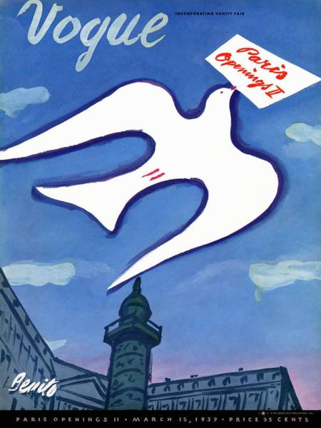 Blue Photograph - Vogue Cover Illustration Of A Dove Holding A Sign by Eduardo Garcia Benito
