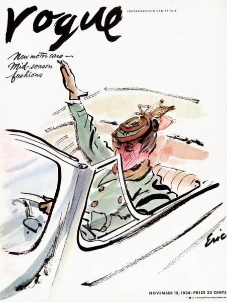 Green Photograph - Vogue Cover Illustration Of A Woman Driving A Car by Carl Oscar August Erickson