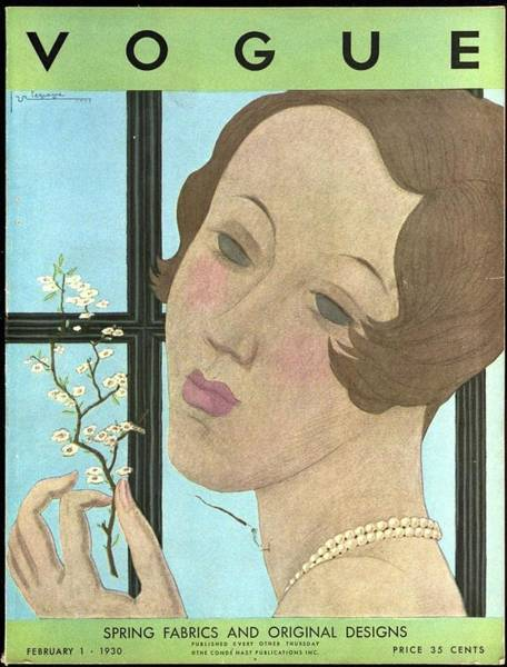 Plant Photograph - Vogue Cover Illustration Of A Woman Holding A Twig by Georges Lepape