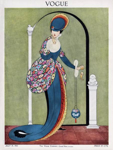 Floral Photograph - Vogue Cover Illustration Of A Woman In A Blue by George Wolfe Plank