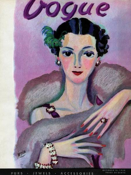 Vogue Cover Illustration Of A Woman In Evening Art Print