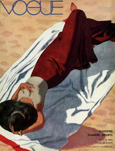 Retro Photograph - Vogue Cover Illustration Of A Woman Lying by Pierre Mourgue
