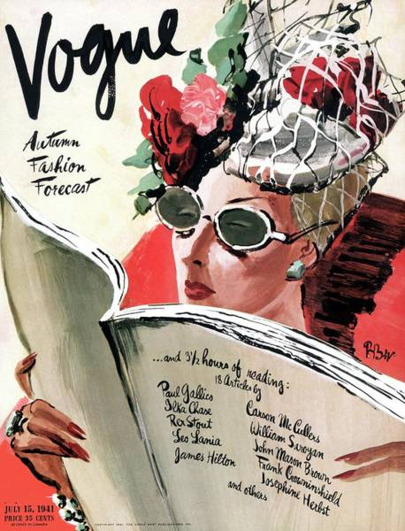Reading Photograph - Vogue Cover Illustration Of A Woman Reading by Rene Bouet-Willaumez