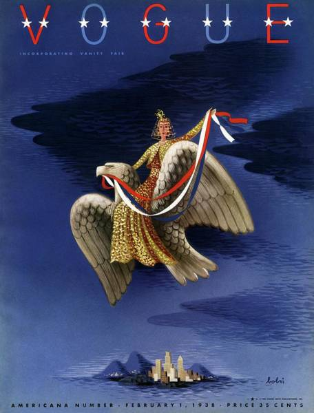 Vogue Cover Of Woman Riding An American Eagle Art Print by Victor Bobritsky