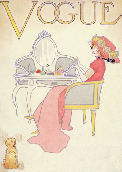 Vogue Cover Illustration Of A Woman Sitting Art Print