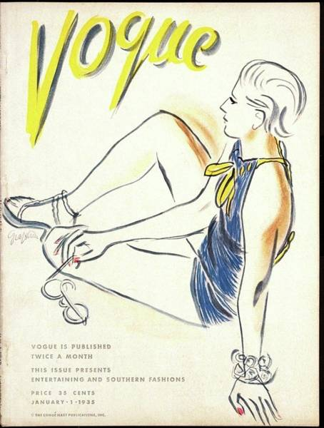 January 1st Photograph - Vogue Cover Illustration Of A Woman Sitting by R.S. Grafstrom
