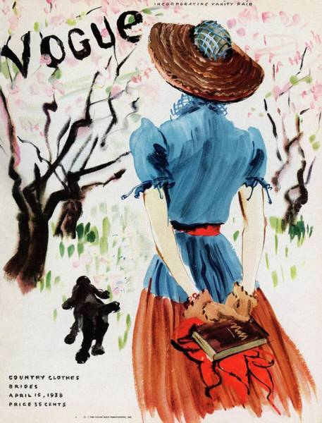 Hand Painted Photograph - Vogue Cover Illustration Of A Woman Walking by Rene Bouet-Willaumez