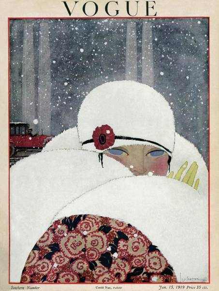 Floral Photograph - Vogue Cover Illustration Of A Woman Wearing A Fur by Georges Lepape
