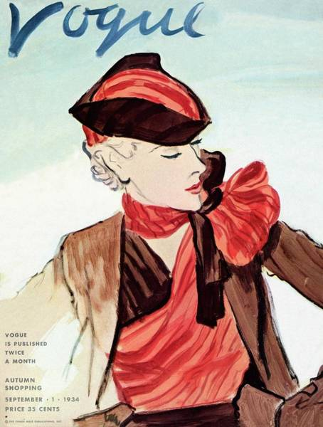 Warm Photograph - Vogue Cover Illustration Of A Woman Wearing A Red by Carl Oscar August Erickson