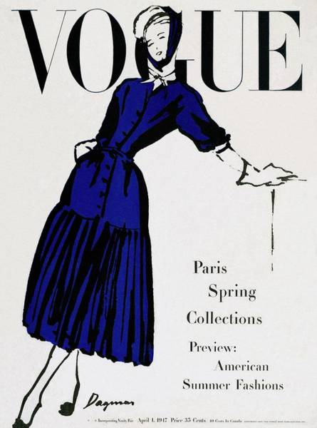 Retro Photograph - Vogue Cover Illustration Of A Woman Wearing Blue by Dagmar