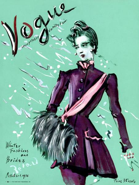 1936 Photograph - Vogue Cover Illustration Of A Woman Wearing by Christian Berard