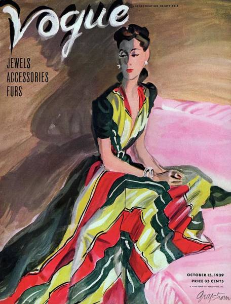 Stripe Photograph - Vogue Cover Illustration Of A Woman Wearing by R.S. Grafstrom