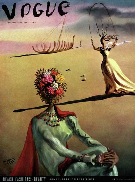 Hand Painted Photograph - Vogue Cover Illustration Of A Woman With Flowers by Salvador Dali