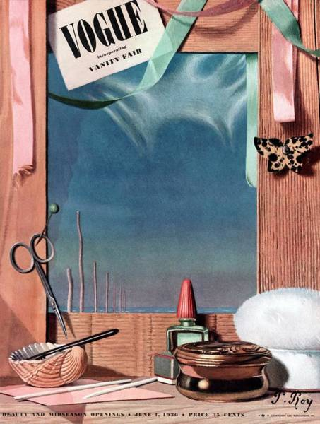 Mirror Photograph - Vogue Cover Illustration Of Cosmetics In Front by Pierre Roy