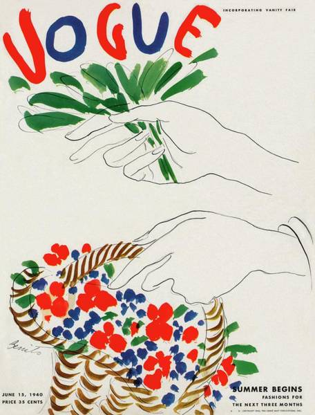 Hand Painted Photograph - Vogue Cover Illustration Of Hands Holding by Eduardo Garcia Benito