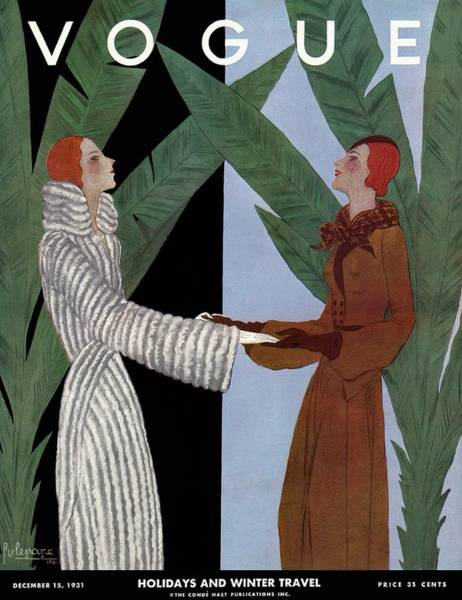 Photograph - Vogue Cover Illustration Of Two Women Holding by Georges Lepape