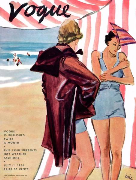 Stripe Photograph - Vogue Cover Illustration Of Two Women At Beach by Carl Oscar August Erickson