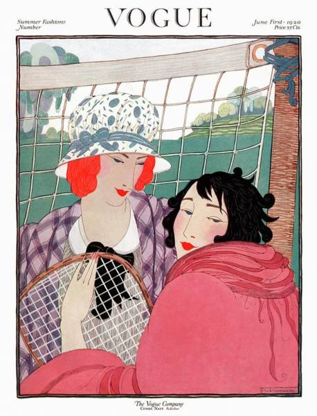 Headgear Digital Art - Vogue Cover Illustration Of Two Women In Front by Helen Dryden