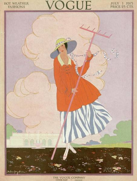 Rake Photograph - Vogue Cover Illustration Of Woman Holding Rake by Helen Dryden