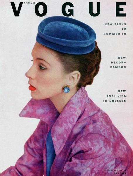 Blue Photograph - Vogue Cover Of Suzy Parker by John Rawlings