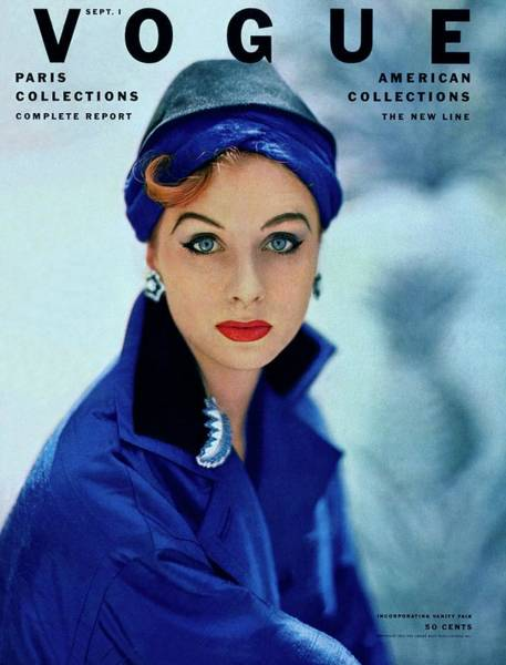 Blue Photograph - Vogue Cover Of Suzy Parker by Roger Prigent