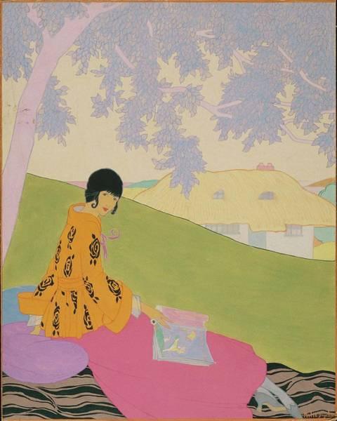 Outdoors Digital Art - Vogue Illustration Of A Woman Sitting On A Hill by Helen Dryden