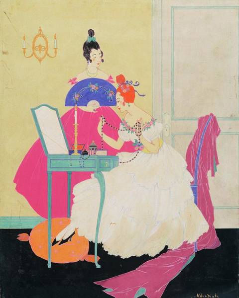 Chair Digital Art - Vogue Illustration Of Two Women Around A Vanity by Helen Dryden