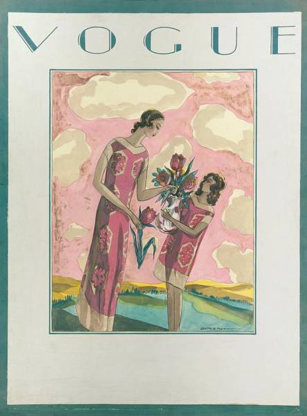 Vogue Magazine Cover Featuring A Woman Art Print by Joseph B Platt