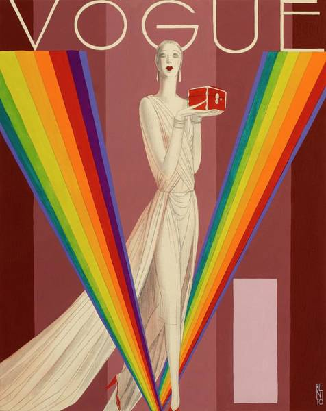 Vogue Magazine Cover Featuring A Woman In A Gown Art Print