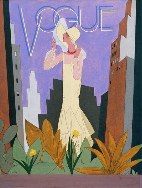 Vogue Magazine Cover Featuring A Woman In A White Art Print by William Bolin