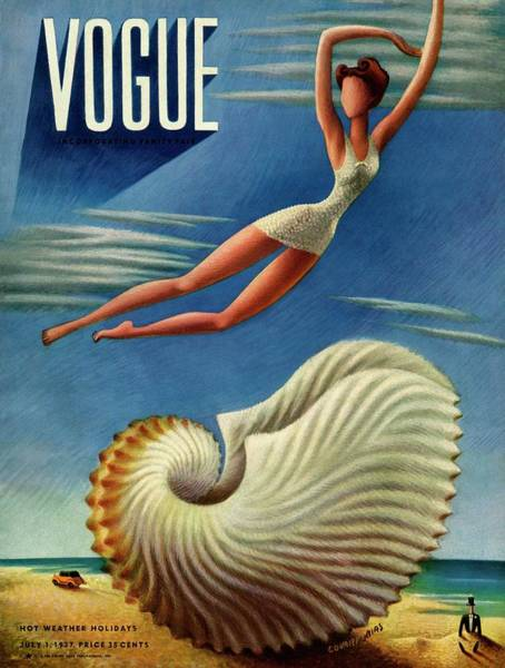 Jumping Photograph - Vogue Magazine Cover Featuring A Woman by Miguel Covarrubias