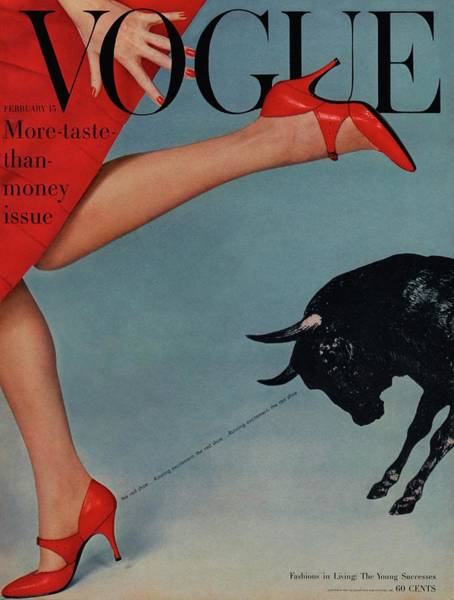 Livestock Photograph - Vogue Magazine Cover Featuring A Woman Running by Richard Rutledge