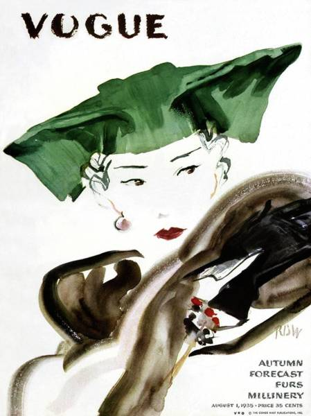 20th Century Photograph - Vogue Magazine Cover Featuring A Woman Wearing by Rene Bouet-Willaumez