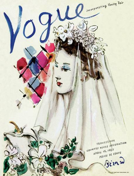 Wedding Photograph - Vogue Magazine Cover Featuring An Illustration by Christian Berard