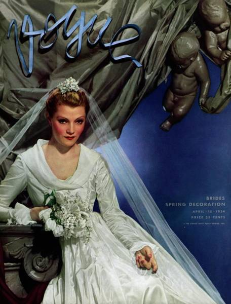 Wedding Bouquet Photograph - Vogue Magazine Cover Featuring French Actress by George Hoyningen-Huene