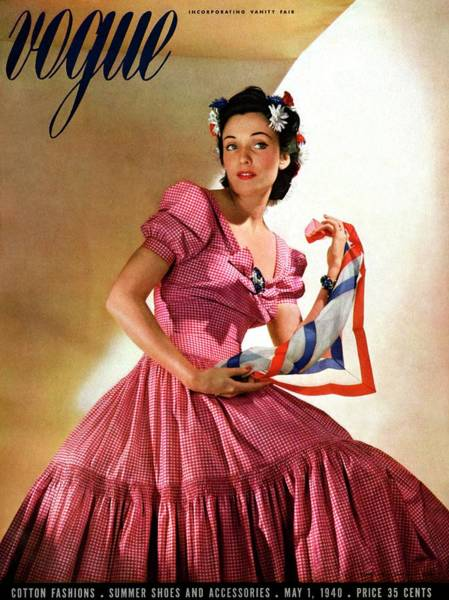 Blue Gown Photograph - Vogue Magazine Cover Featuring Model Kay Herman by Horst P. Horst