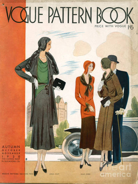 Nineteen-thirties Wall Art - Drawing - Vogue Pattern Book Cover 1930 1930s Uk by The Advertising Archives