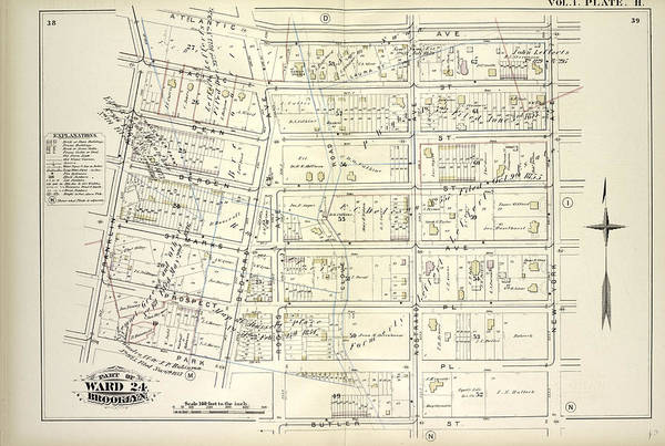 Vol. 1. Plate, H. Map Bound By Atlantic Ave., New York Art Print