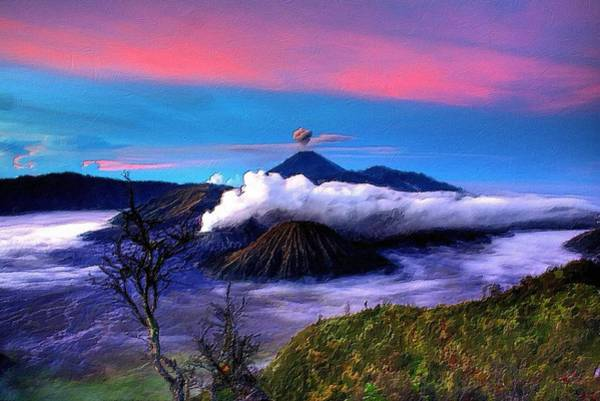 Painting - Volcano In The Clouds by Florian Rodarte