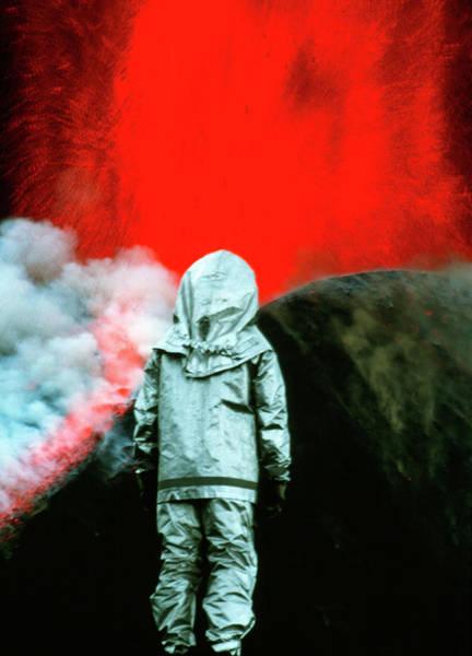 Volcanologist By Mount Etna Eruption Art Print