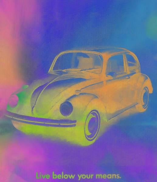 Blue Bug Digital Art - Volkswagen Beetle Ad Pop Art by Dan Sproul