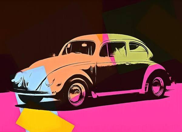 Blue Bug Digital Art - Volkswagen Beetle Pop Art 2 by Dan Sproul