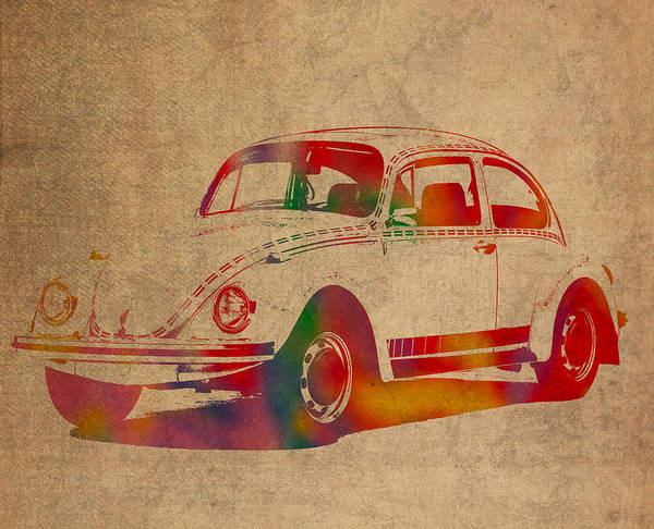 Distress Mixed Media - Volkswagen Beetle Vintage Watercolor Portrait On Worn Distressed Canvas by Design Turnpike