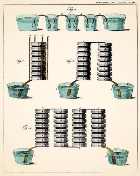 Voltaic Pile Photograph - Voltas Crown Of Cups And Voltaic Piles by Wellcome Images