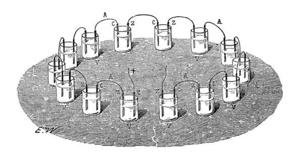 Battery Photograph - Volta's 'crown Of Cups' Battery by Science Photo Library