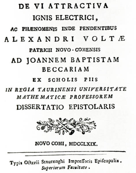 Front Page Photograph - Volta's First Paper On Electricity (1769) by Science Photo Library