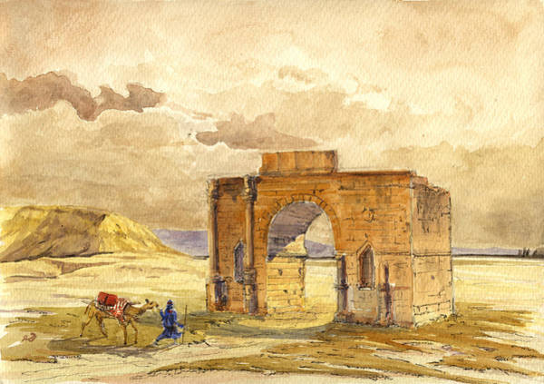 Camel Painting - Volubilis Mecknes Ruins by Juan  Bosco
