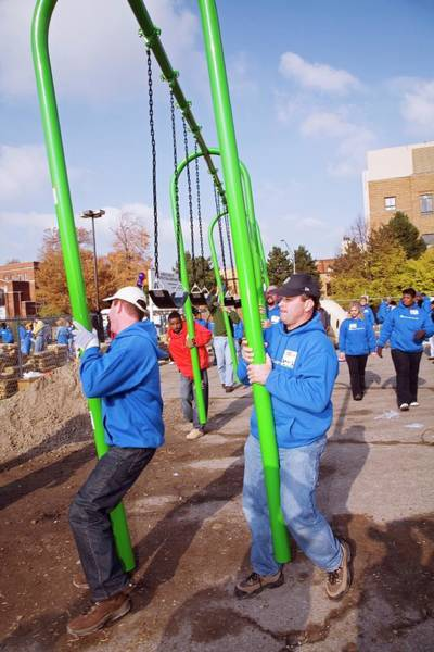 Non Profit Photograph - Volunteers Constructing A Playground by Jim West