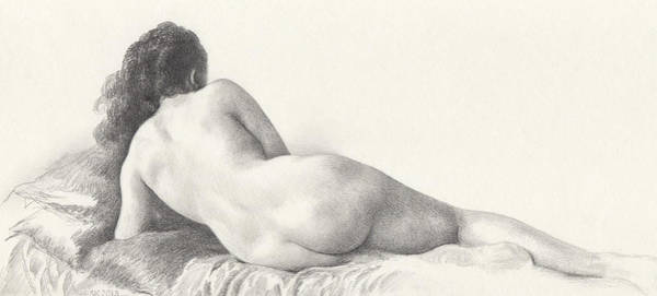 Drawing - Voluptuous Reclining Nude Luxuriating On Victorian Settee After Eakins by Scott Kirkman